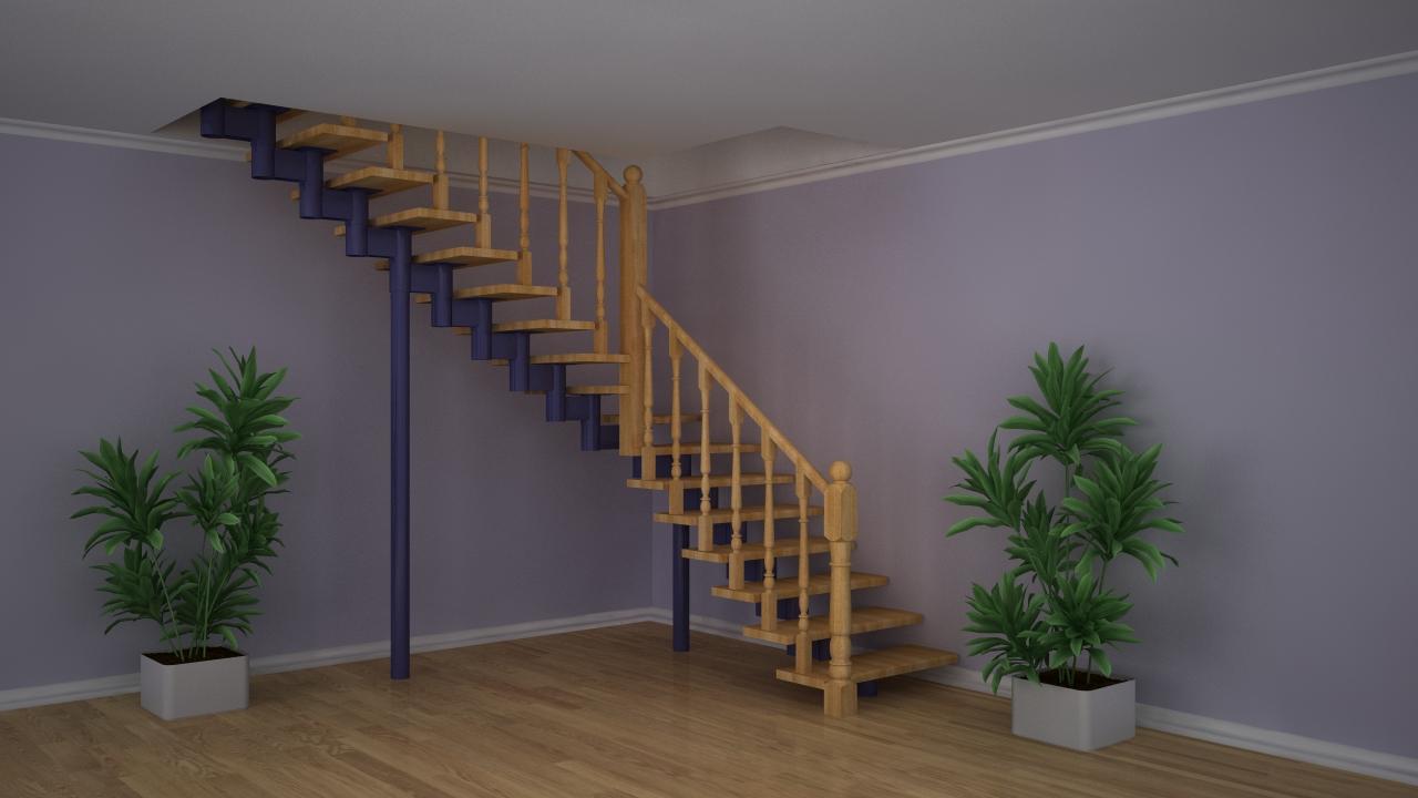 Г г-образная лестница на второй этаж своими руками 70